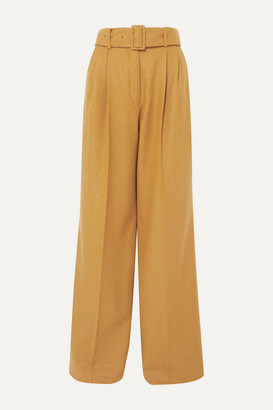 Paul & Joe Belted Wool-blend Wide-leg Pants - Mustard