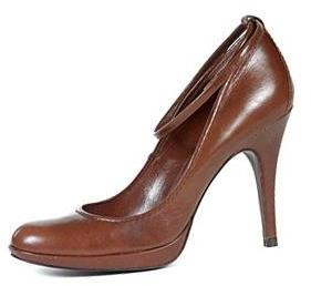 PEDRO GARCIA brown leather pump with ankle strap