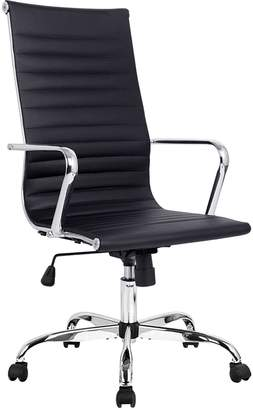 Charles and Ray Eames Resort Living Office Chairs Replica PU Leather High Back Executive Office Chair, Black