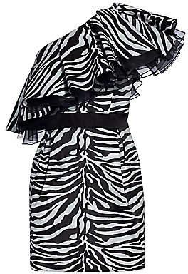 Prabal Gurung Women's Zebra Print One-Shoulder Mini Dress
