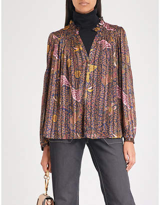BA&SH Danila ruffled printed chiffon shirt