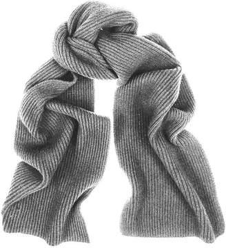 Black Grey Rib Knit Cashmere Scarf