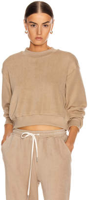 John Elliott Corduroy Cropped Sweatshirt in Linen | FWRD