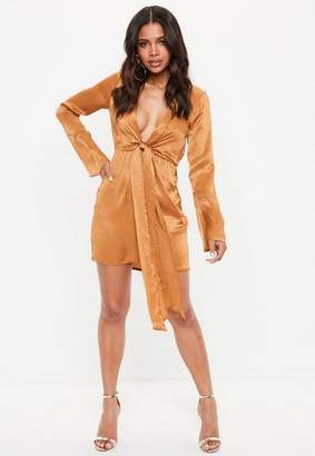Missguided Rust Satin Plunge Tie Front Shift Dress
