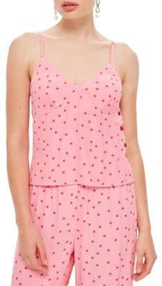 Topshop Spot Print Button Camisole