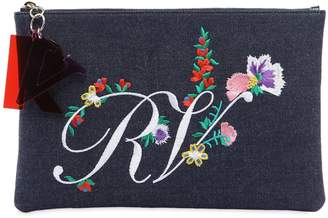 Roger Vivier Floral Embroidered Denim Pouch