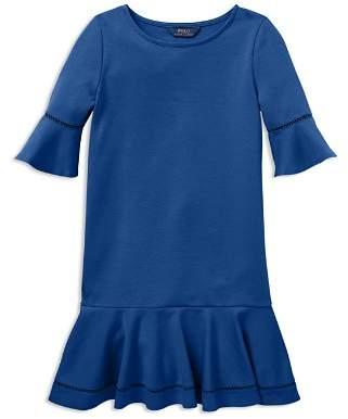 Ralph Lauren Girls' Ponte Bell-Sleeve Drop-Waist Dress - Big Kid