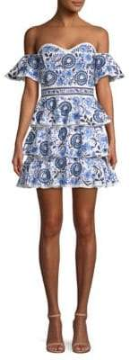 Caroline Constas Irene Printed Ruffle Mini Dress