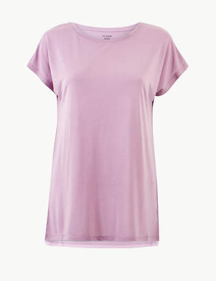 d4e223555372 M&S CollectionMarks and Spencer Round Neck Longline Relaxed Fit T-Shirt