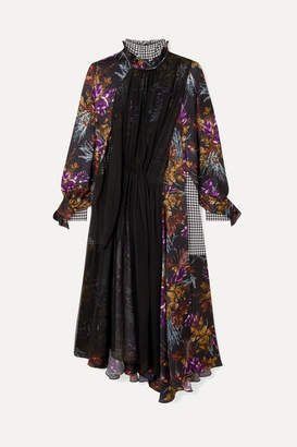 Balenciaga Night Leaves Bow-detailed Layered Silk-jacquard, Crepe And Silk-chiffon Dress - Purple