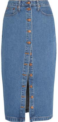 Madewell - Denim Midi Skirt - Mid denim $90 thestylecure.com