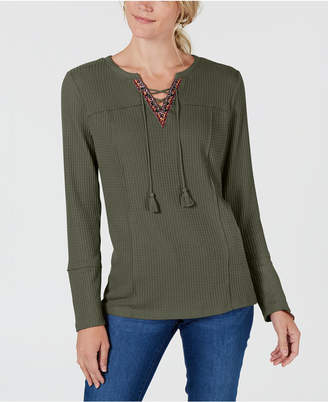 Style&Co. Style & Co Lace-Up Top, Created for Macy's