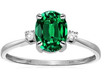 Stark Star K Oval 8x6mm Simulated Emerald Engagement Promise Ring 14kt Size 8