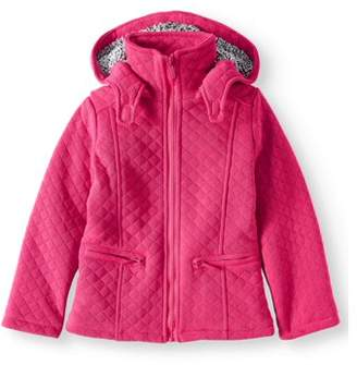 Yoki Little Girls' Fleece Zip Up Hooded Jacket With Quilting