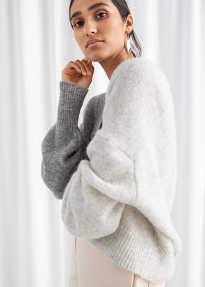 And other stories Colour Block V-Neck Sweater