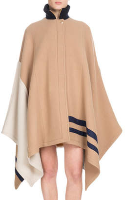 Chloé Button-Front Multicolor Iconic Soft Wool Oversized Cape