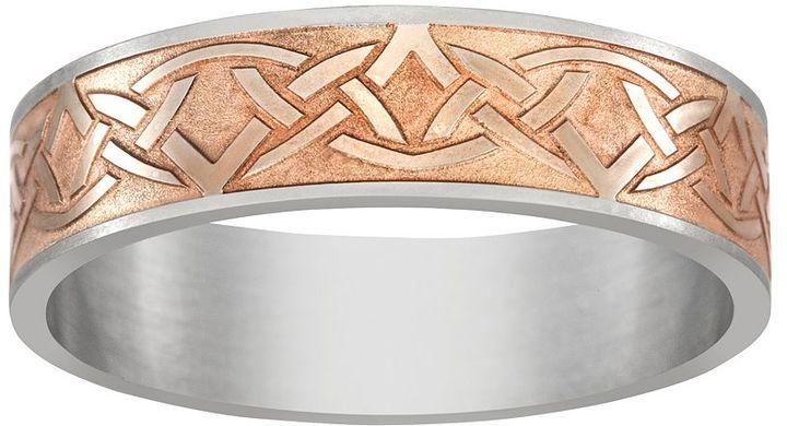 Celtic SheepskinPink Ion-Plated Titanium & Titanium Celtic Knot Band - Men