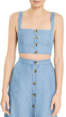 Show Me Your Mumu Adeline Chambray Cropped Top