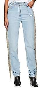 Helmut Lang Women's Fringed Straight Jeans - Blue