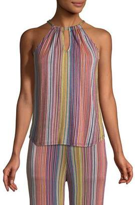 Trina Turk Amirah Daybreak Stripe-Knit Halter Top