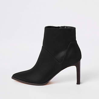 River Island Black pointed slim square heel boots