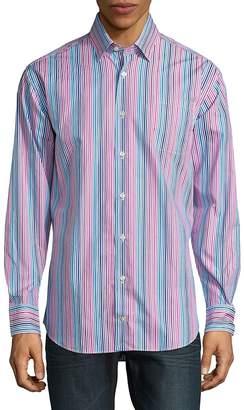 Robert Talbott Men's Anders Casual Striped Cotton Sportshirt