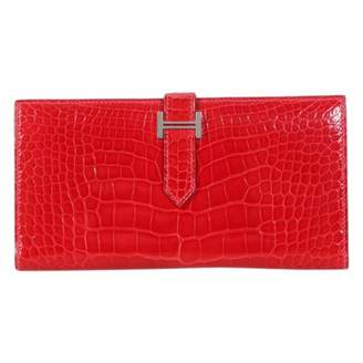 Hermes Bearn Red Exotic leathers Wallets