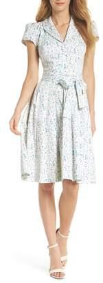 Gal Meets Glam Anne Spring Sprig Print Wrap Style Dress