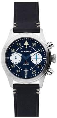 Jack Mason Aviation II Chronograph Leather Strap Watch, 42mm