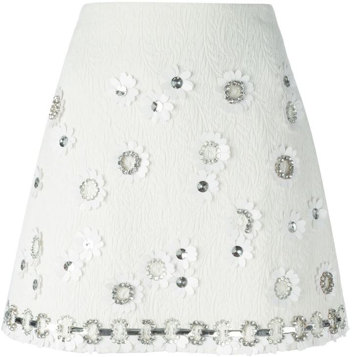 MSGM crystal embellished floral skirt