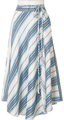 Apiece Apart Rosehip Wrap-effect Striped Linen And Silk-blend Skirt - Blue