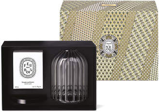 Diptyque Candle and Large Candle Holder Precomposed with Feu de Bois