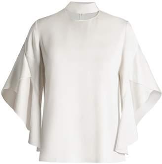 Fendi Tie-neck draped-sleeve blouse