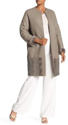Elie Tahari Reversible Leather & Genuine Dyed Calf Fur Coat