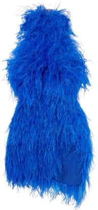 ATTICO Feather-embellished Tulle Mini Dress - Blue