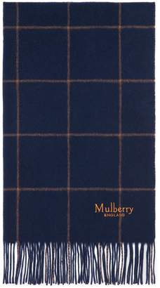 Mulberry Windowpane Check Scarf Navy and Camel Lambswool