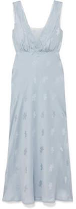 LoveShackFancy Coletta Lace-trimmed Silk-jacquard Midi Dress - Sky blue