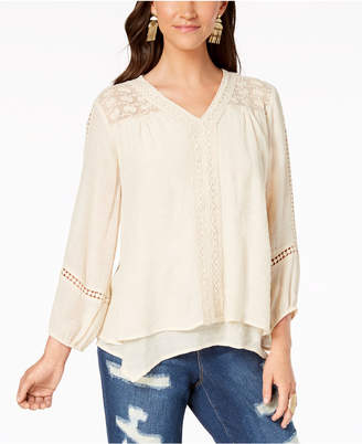 Style&Co. Style & Co Lace-Yoke Handkerchief-Hem Top, Created for Macy's
