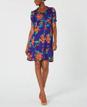 Nanette Lepore Floral-Print Ruched-Sleeve Shirtdress