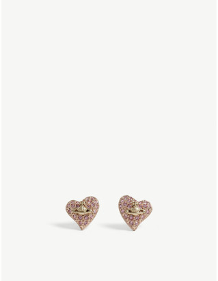Vivienne Westwood Tiny swarovski heart stud earrings