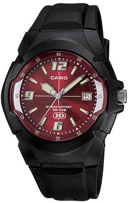 Casio Mens Red Dial Black Resin Strap Sport Watch MW600F-4AVOS