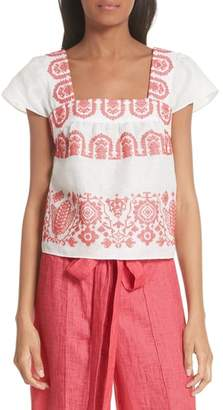 Milly Mykonos Embroidered Crop Square Neck Linen Top