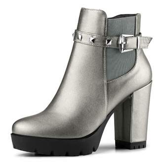 b195aa047cd3 Allegra K Women s Rivet Decor Platform Chunky Heel Ankle Boots