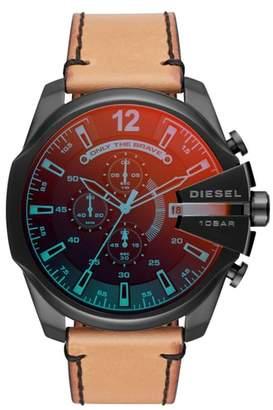Diesel R) Mega Chief Chronograph Leather Strap Watch, 51mm