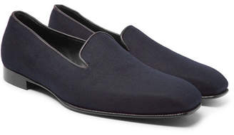 Kingsman + George Cleverley Windsor Leather-Trimmed Cashmere Slippers
