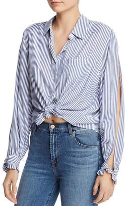 7 For All Mankind Split-Sleeve Tie-Front Shirt