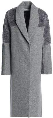 Halston Faux Shearling-Paneled Mélange Wool-Blend Coat