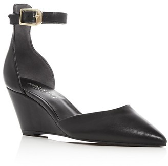 Kenneth Cole Emery Leather Pointed Toe Ankle Strap Wedge Pumps $130 thestylecure.com