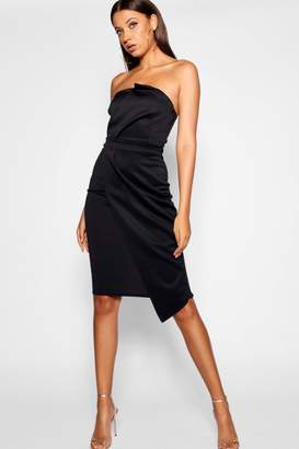 boohoo Tall Bandeau Wrap Detail Midi Dress