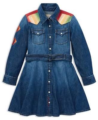 Ralph Lauren Girls' Belted Denim Western Shirt Dress - Little Kid